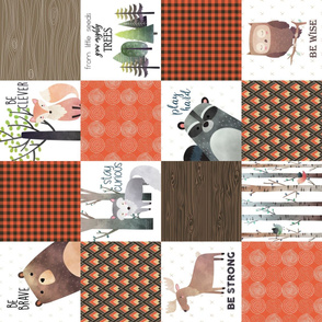 Woodland Critters Patchwork Quilt ROTATED - Bear Moose Fox Raccoon Wolf, Brown & Orange Design GingerLous