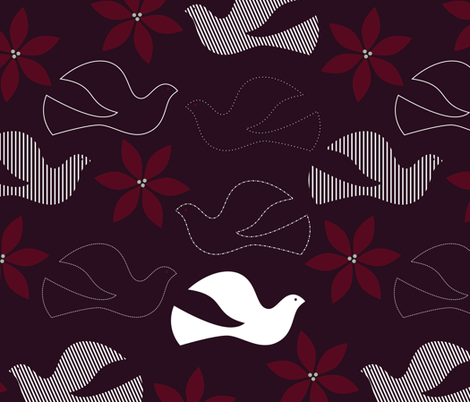 Peace and Poinsettias fabric by katerhees on Spoonflower - custom fabric