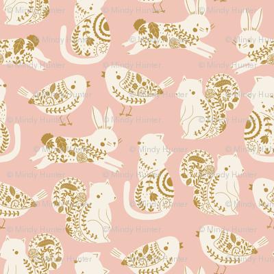garden animals // rabbit // cat // bird // squirrel