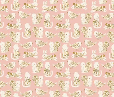 garden animals // rabbit // cat // bird // squirrel fabric by littlefoxhill on Spoonflower - custom fabric