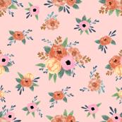 penelope floral  - floral, florals, feminine, nursery, baby, girls, elegant flower - peach