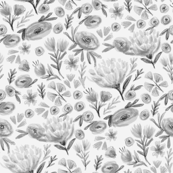 eloise floral - floral, florals, watercolor, watercolours, girls, nursery, decor, spring, bloom, blossoms, stems, - grey
