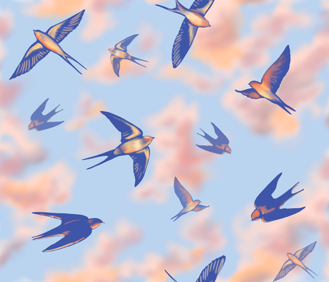 Sunset Swallows fabric by vinpauld on Spoonflower - custom fabric