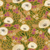 harper floral - floral, feminine flowers, watercolor, watercolours, flower, girls, sweet floral print - golden