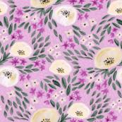 harper floral - floral, feminine flowers, watercolor, watercolours, flower, girls, sweet floral print - lavender