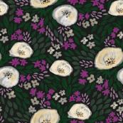 harper floral - floral, feminine flowers, watercolor, watercolours, flower, girls, sweet floral print - black