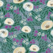 harper floral - floral, feminine flowers, watercolor, watercolours, flower, girls, sweet floral print - deep blue