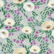harper floral - floral, feminine flowers, watercolor, watercolours, flower, girls, sweet floral print - blue