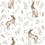 rabbit floral - painted earth tone palette fabric, painted floral, prairie floral, natural palette, muted colors, 2019 colors - white