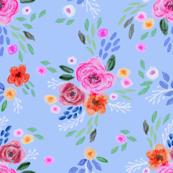 lauren floral - girls floral, flowers, flower, feminine,  bloom, watercolor, watercolours, painted floral - blue