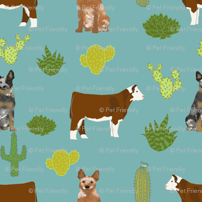 australian cattle dog (smaller scale) with cattle red heeler and blue heeler fabric blue/green