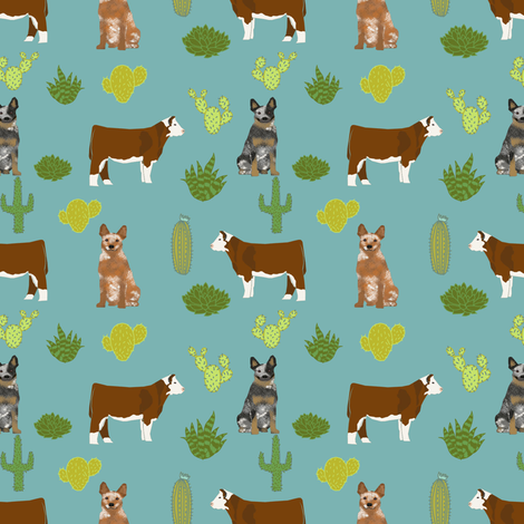 australian cattle dog (smaller scale) with cattle red heeler and blue heeler fabric blue/green fabric by petfriendly on Spoonflower - custom fabric