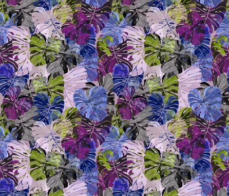 Luna Night Flight Monstera forest fabric by agregorydesigns on Spoonflower - custom fabric