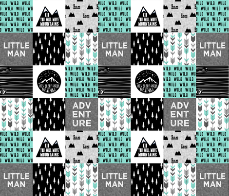 Little Man / Adventure - Wild - black and teal fabric by littlearrowdesign on Spoonflower - custom fabric
