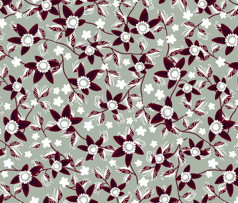 Elegant Holiday Wildflowers on Gray fabric by hollybender on Spoonflower - custom fabric