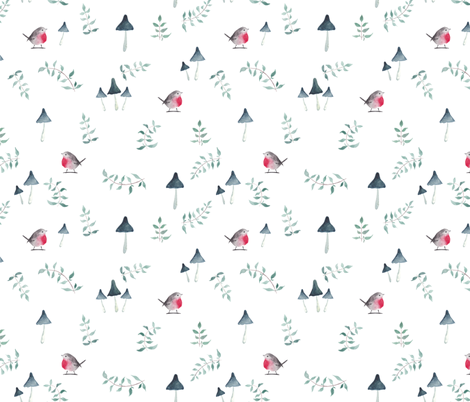 red robin - white fabric by meissa on Spoonflower - custom fabric