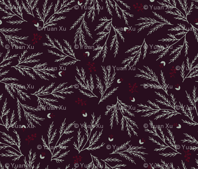 Cypress leaves holiday print