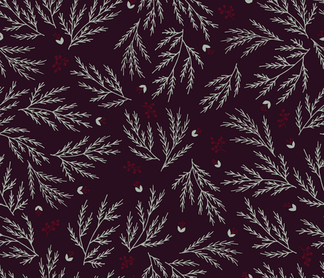 Cypress leaves holiday print fabric by ldpapers on Spoonflower - custom fabric