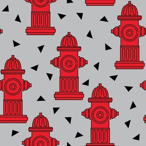 red fire hydrants and triangles