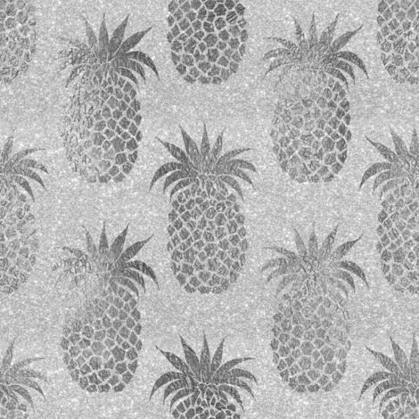 pineapples_silver fabric by schatzibrown on Spoonflower - custom fabric