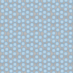 puffed square curtain in blue and grey - modern geometric collection