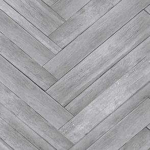 Light Grey Herringbone Wood Panels