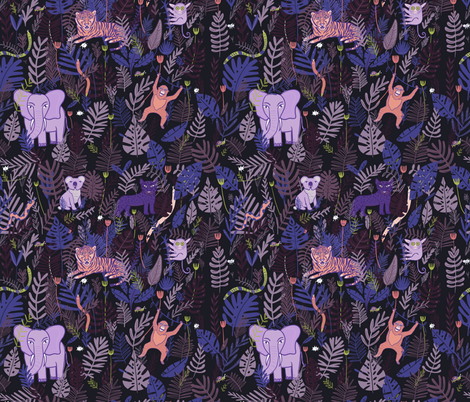 Jungle night  fabric by ana_harrill on Spoonflower - custom fabric