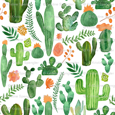 Green Boho Cactus on White with Orange Accents