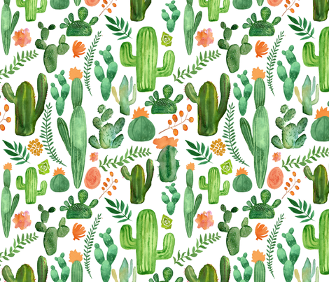 Green Boho Cactus on White with Orange Accents fabric by saguaro_market on Spoonflower - custom fabric