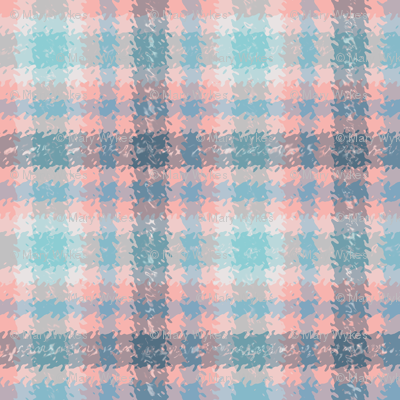 JP11 - Coral  and Blue Jagged Plaid