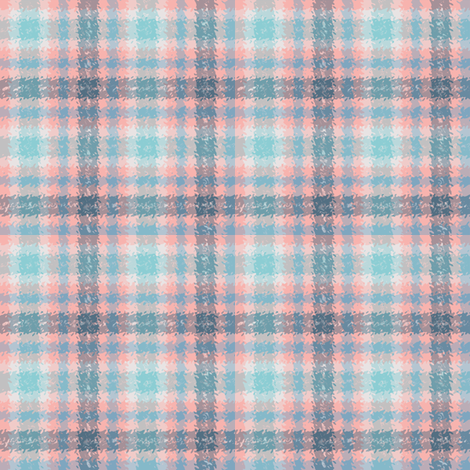 JP11 - Coral  and Blue Jagged Plaid fabric by maryyx on Spoonflower - custom fabric