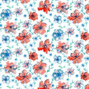 Red and Blue Floral White Background