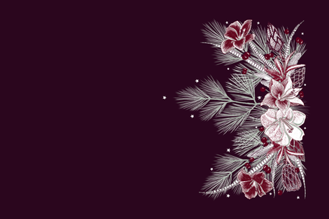 Elegant Holiday Wreath Teatowel (wine) fabric by helenpdesigns on Spoonflower - custom fabric