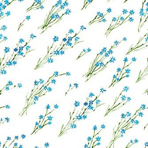 Watercolor cornflowers diagonal