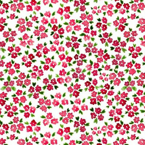 Calico watercolor red forget me not  messy