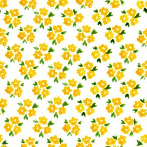 Calico watercolor yellow forget me not  dense