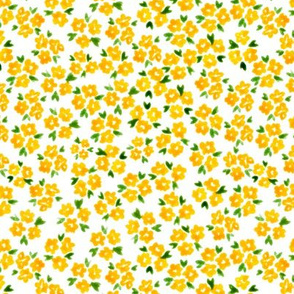 Calico watercolor yellow forget me not  messy