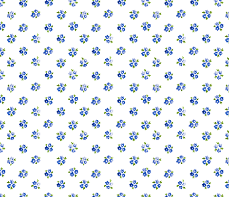 Calico watercolor blue forget me not  sparse fabric by doozydo on Spoonflower - custom fabric