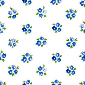 Calico watercolor blue forget me not  sparse