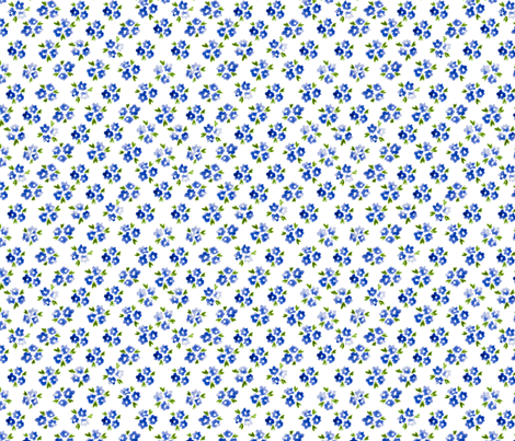 Calico watercolor blue forget me not  dense fabric by doozydo on Spoonflower - custom fabric