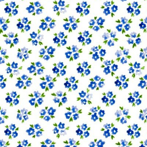 Calico watercolor blue forget me not  dense
