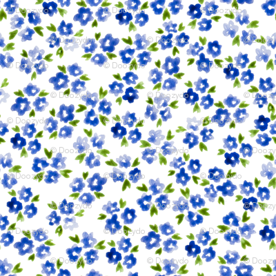 Calico watercolor blue forget me not  messy