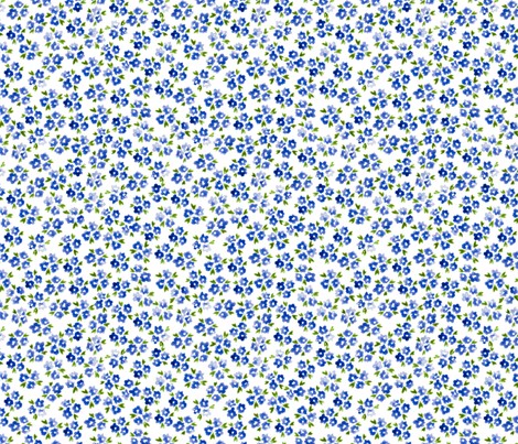 Calico watercolor blue forget me not  messy fabric by doozydo on Spoonflower - custom fabric