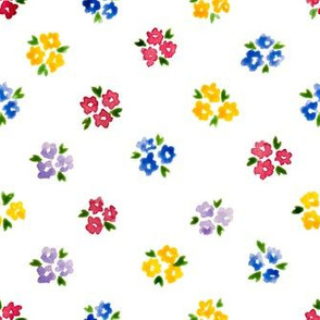 Calico watercolor colorful forget me not  sparse