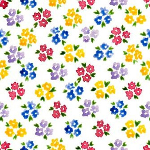 Calico watercolor colorful forget me not  dense