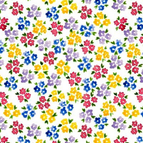 Calico watercolor colorful forget me not  messy