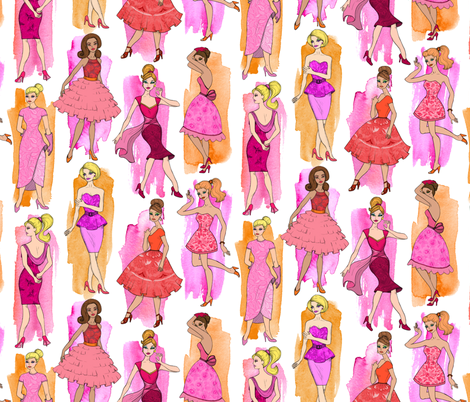 Girly Vintage Fashion Illustrations in Magenta & Orange on White - large print fabric by micklyn on Spoonflower - custom fabric