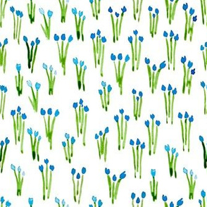 Blue watercolor tulips dense