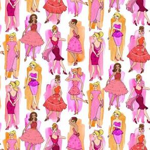 Girly Vintage Fashion Illustrations in Magenta & Orange on White - small print