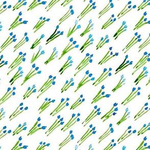 Blue watercolor tulips diagonal